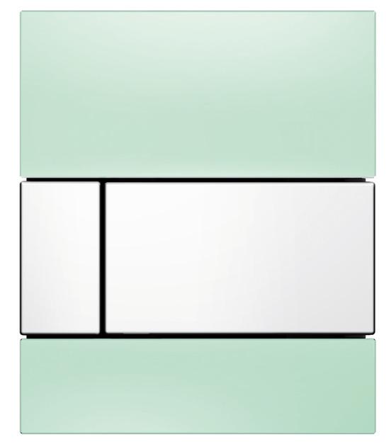 TECEsquare Urinal. Панель смыва для писсуара, стеклянная. Стекло зеленое, клавиша белая. 9242803